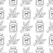 Seamless pattern with outline drawings on the theme of coffee Jar of coffee and coffee beans