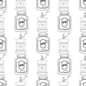 Seamless pattern with outline drawings on the theme of coffee Jar of coffee and an old coffee grinder