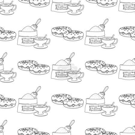 Illustration pour Modèle sans couture avec des dessins de contour sur le thème du café. Donuts et un sac de grains de café . - image libre de droit