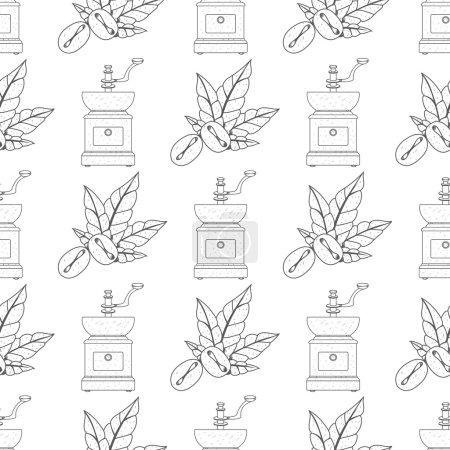 Illustration pour Modèle sans couture avec des dessins de contour sur le thème du café. Moulin à café vintage et grains de café . - image libre de droit