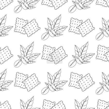 Illustration pour Modèle sans couture avec des dessins de contour sur le thème du café. Grains de café et craquelins . - image libre de droit