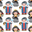 Seamless pattern with cartoon queen and prince....