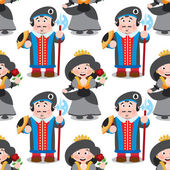 Seamless pattern with cartoon queen and prince