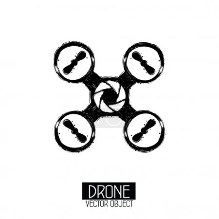 High quality drone isolated vector objects. Grunge stylised.