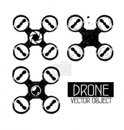 High quality drone isolated vector objects.