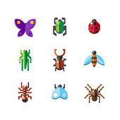 Flat insect bug icons