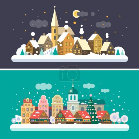 Christmas time. Urban and Village landscapes