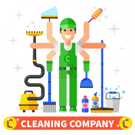 Cleaning company worker