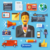 Illustrations modern information technology and news