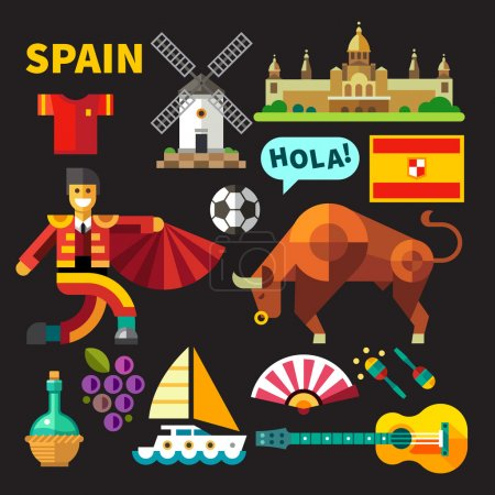 Illustration for Color vector flat icon set and illustrations Spain: architecture, Palace, flag,  flamenco, bullfights, bull, corrida, toros, toreodor, guitar, grapes, mill, football, boat, saling - Royalty Free Image