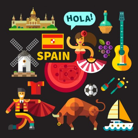 Illustration for Color vector flat icon set,  illustrations Spain: architecture, Palace, flag,  flamenco, bullfights, bull, corrida, toros, toreodor, guitar, grapes, mill, football, saling - Royalty Free Image