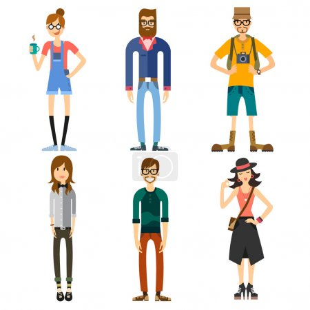 Illustration for Different Characters of people, including hipster and tourist. Girls and boys. Fashion and Style. Vector flat illustration - Royalty Free Image