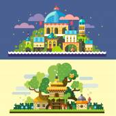 Fantastic landscape: magic castle at night sea starry sky clouds tree house stone house with thatched roof in forest glade Vector flat illustrations and backgrounds