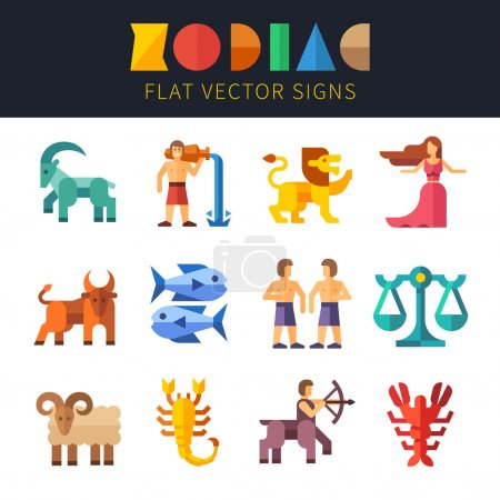 Illustration for Flat zodiac signs, astrology. Aquarius, Virgo, Scorpio, Taurus, Pisces, Sagittarius, Leo, Libra, Aries, Capricorn, Gemini, Cancer Vector flat illustrations - Royalty Free Image