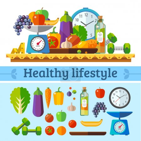 Illustration for Healthy lifestyle, a healthy diet and daily routine. Vector flat illustration. - Royalty Free Image