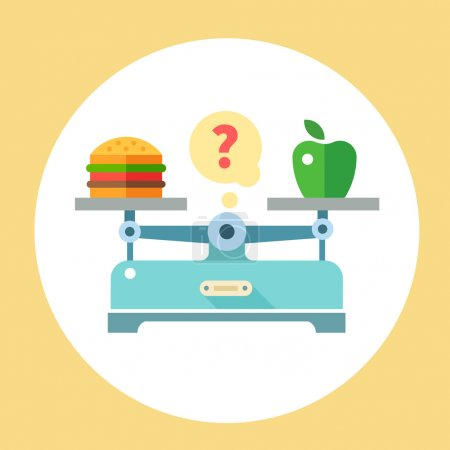 Illustration for Apple and hamburger on scales. Diet. Healthy food. Vector flat illustration - Royalty Free Image