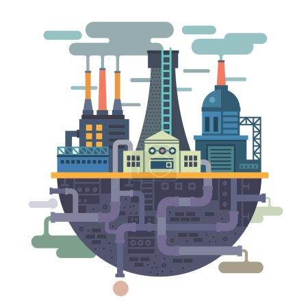 Illustration pour Paysage industriel. Usine ou usine. L'écologie. La pollution. Illustration vectorielle plate - image libre de droit