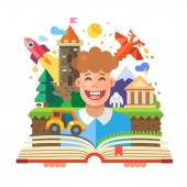 Imagination concept child with open book