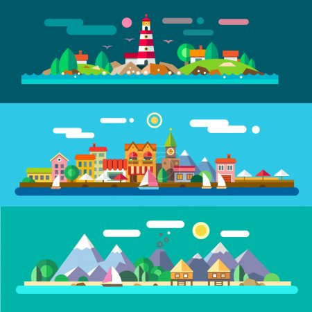 Illustration for Landscapes by the sea: lighthouse and rocks, city embankment, beach resort. Vector flat illustrations - Royalty Free Image