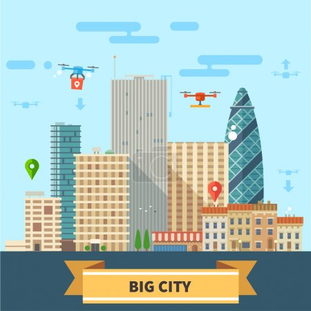 Illustration for Landscape of the future. Modern technologies Big city, skyscrapers and drones flying in the sky. Vector flat illustration - Royalty Free Image