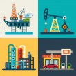 Oil recovery, oil rig, a gas station. Vector flat ...