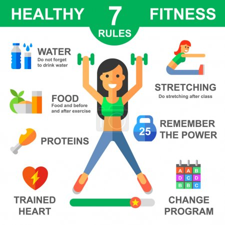 Illustration for Rules of healthy lifestyle. Fitness. Sport. Vector flat illustrations - Royalty Free Image