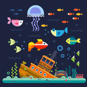 Sea life Underwater world Fish jellyfish sea bottom backwaters ship algae treasure Vector flat illustrations  and icon set