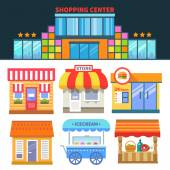 Shops and trade Shopping Center Different building of shops and cafes Vector flat icons and illustrations