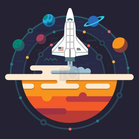 Illustration for Space illustration. Planets of solar system. Rocket flying to Galaxy. Vector flat illustration - Royalty Free Image