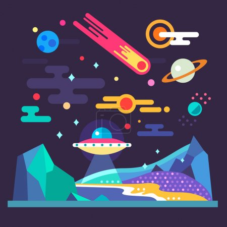 Illustration for Space landscape: stars, planets, comet, ufo, stardust. Solar system. Relief of planet: blue mountains, purple lands, yellow sand. Vector flat illustrations and background - Royalty Free Image