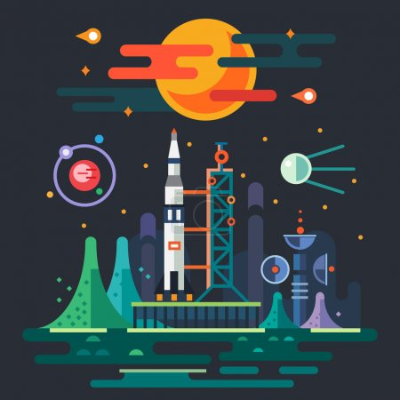 Illustration for Space landscape, rocket launch on the background of a sunset. The sun, planets, stars, comets, moon, clouds, mountains, space station, satellite. Vector flat illustrations - Royalty Free Image