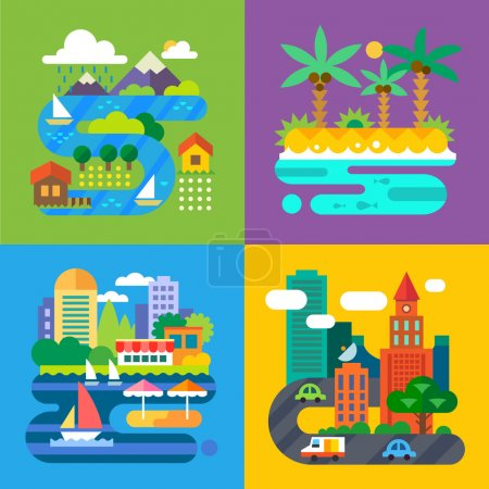 Illustration for Summer landscapes. Vacation and travel. Alpine village, tropical island, big city, provincial town. Vector flat  illustrations - Royalty Free Image