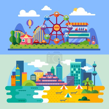 Summer city beach, amusement park landscapes