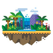 Uninhabited island jungle Tropical landscape with a waterfall and palm trees Vector flat illustration