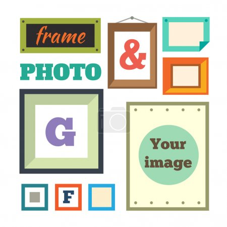 Different colorful photo frames