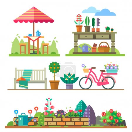 Illustration for Garden landscapes, summer and spring: picnic, bike, watering can, flower bed. Vector flat  illustrations - Royalty Free Image