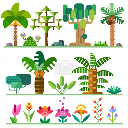 Illustration for Tropical plants. Different types of trees, flowers, bushes. Vector flat  illustrations - Royalty Free Image