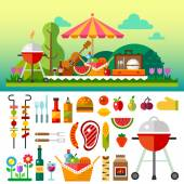 Summer picnic in meadow with flowers: umbrella guitar basket with food fruits barbecue Vector flat  illustrations and set of element