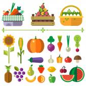Basket with fruits and vegetables Farm Elements and sprites Carrot pumpkin onion tomato pepper pineapple cherry banana grapes apple pear Vector flat  illustrations