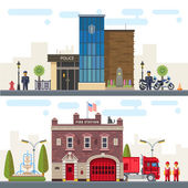 Landscape with buildings police and fire station Protection of life health and property of people Vector flat illustration