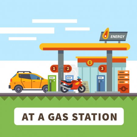 Illustration pour Voiture et moto dans une station-service. Paysage urbain. Illustration vectorielle plate - image libre de droit