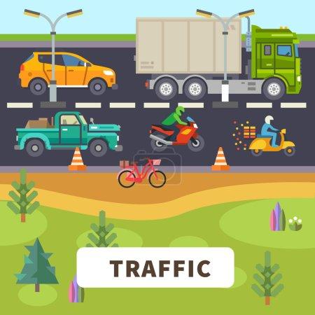 Illustration pour Trafic : camion, voiture, moto, cyclomoteur, balade à vélo sur la route. Illustration vectorielle plate - image libre de droit