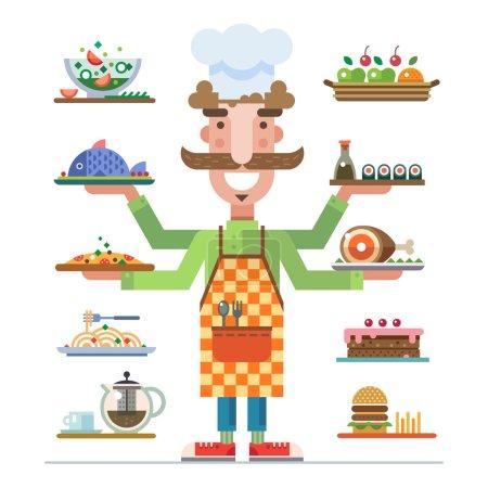 Illustration pour Chef propose une gamme de beaux plats servis. Repas dans un restaurant. Carrière dans la restauration. Restauration. Illustration vectorielle plate - image libre de droit