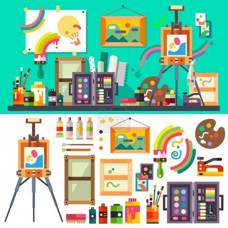 Illustration for Art studio interior with all tools and materials for painting and creature.  The source of inspiration for the artist. Preparations for exhibition, paint, pictures, brushes, easel. Vector flat illustration - Royalty Free Image