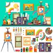 Art studio interior with all tools and materials for painting and creature.  The source of inspiration for the artist. Preparations for exhibition, paint, pictures, brushes, easel. Vector flat illustration