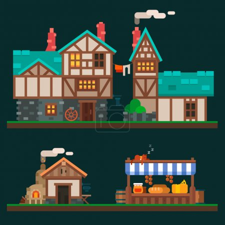 Illustration for Old stone and wooden houses, quiet life in the suburbs, rurality and the shelves in the grocery market. Village and medieval city. Vector flat illustration and sprite for game - Royalty Free Image