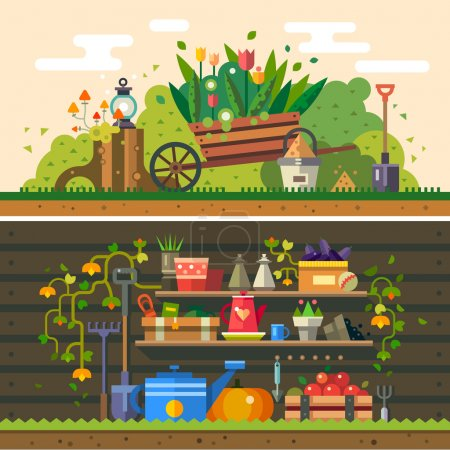 Illustration for Spring and summer. Work in the garden. cultivation of land, flowers, wooden wall, warehouse, tools and materials for planting. Vector flat illustration - Royalty Free Image