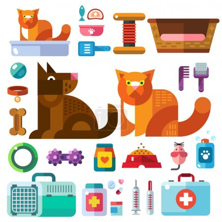 Domestic animals with their toys
