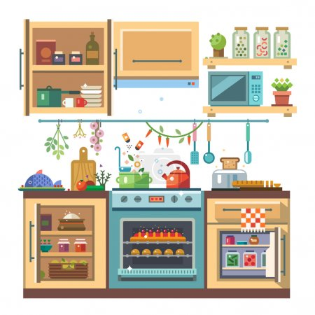 Illustration for Home kitchenware, food and devices in color vector flat illustration. Stove, oven with baking, refrigerator, condiments - Royalty Free Image