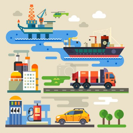 Illustration for Oil rig, transportation, car refueling. Industry and environment. Color vector flat illustration - Royalty Free Image